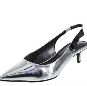 Christian siriano sage silver kitten heels shoes